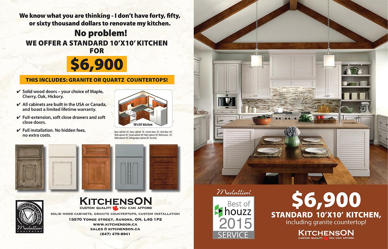 a standard 10 39 x 10 39 kitchen including granite or quartz countertop for 6 900 kitchens ontario. Black Bedroom Furniture Sets. Home Design Ideas